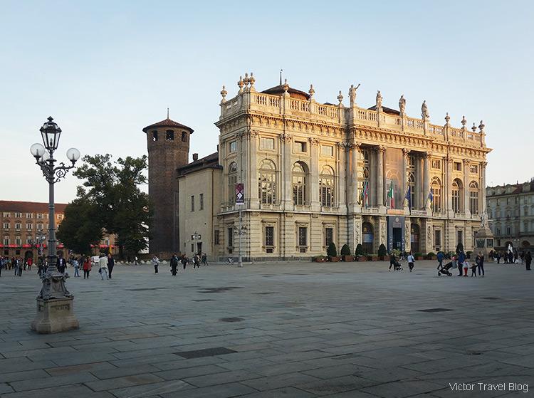 The white facade of Palazzo Madama e Casaforte degli Acaja, Turin, Italy.